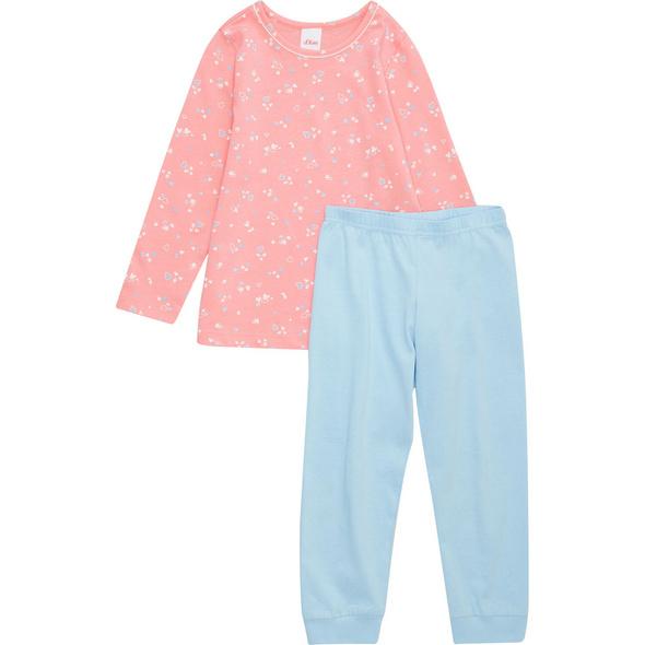 Schlafanzug, Langarm, Blumenmuster, Rundhals, für Mädchen