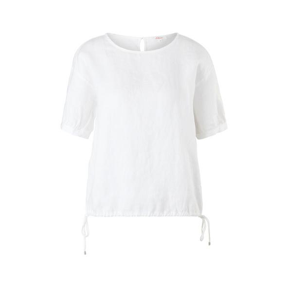 Materialmixshirt mit Leinen - T-Shirt