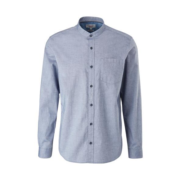 Regular: Hemd mit Stehkragen - Baumwollhemd