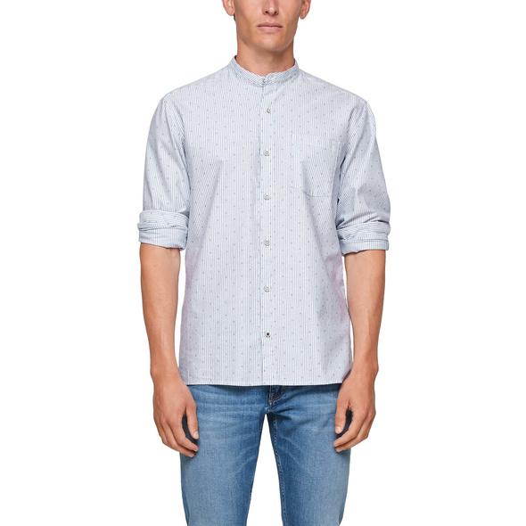 Regular: Hemd mit Stehkragen - Streifenhemd