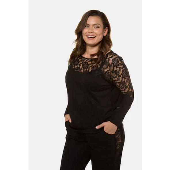 Ulla Popken Pyjamashirt, Spitze, Modalmischung - Große Größen