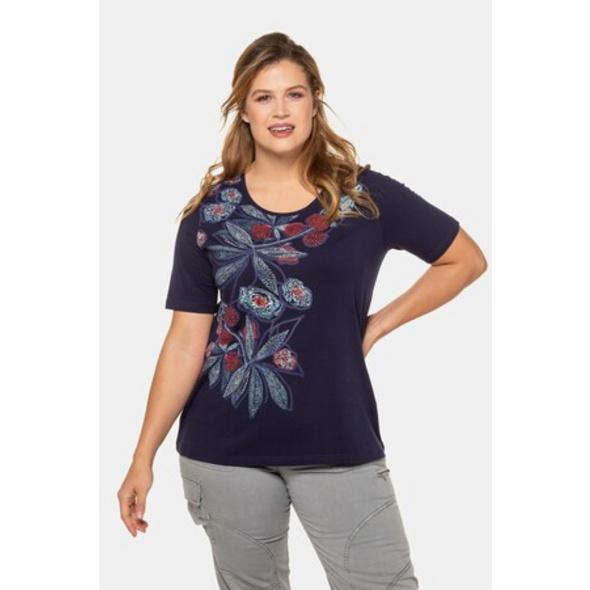 Ulla Popken T-Shirt, Blütenmotiv, Classic, Stickoptik - Große Größen