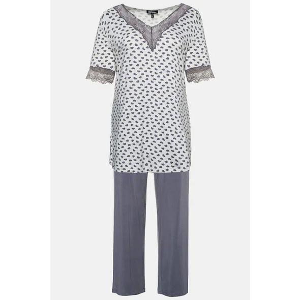 Ulla Popken Pyjama, Herzmuster, Spitzenausschnitt - Große Größen