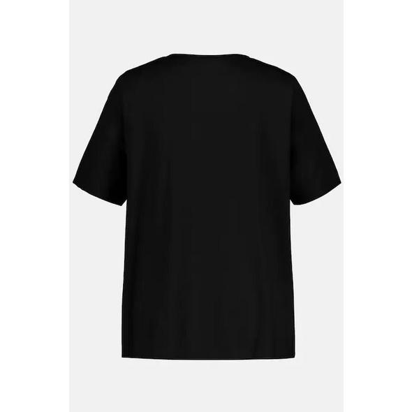 Shirtbluse, Zierring, Halbarm, reine Baumwolle