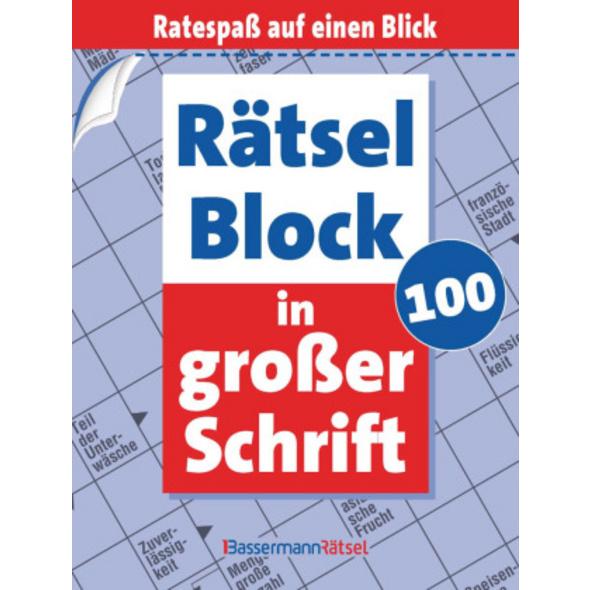 Rätselblock in großer Schrift. Bd.100