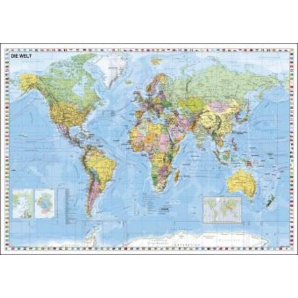 Weltkarte deutschsprachig. Wandkarte mit Flaggenra