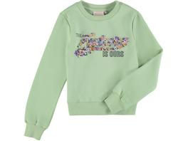Sweatshirt, Rundhals, Front-Print, Rippbündchen, für Mädchen