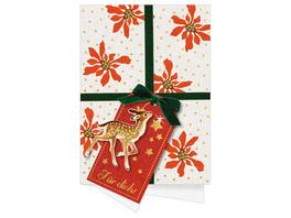 Weihnachtskarten m.Kuvert Oh du schöne Weihnachtszeit, sort.