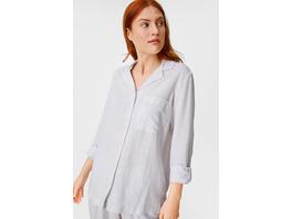 Pyjama-Oberteil - Leinen-Mix - gestreift